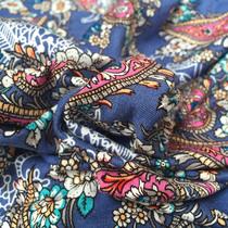 Вискозный трикотаж принт огурцы с цветами на фиалковом фоне