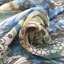 Лён с хлопком принт цветы на оливково-голубом фоне